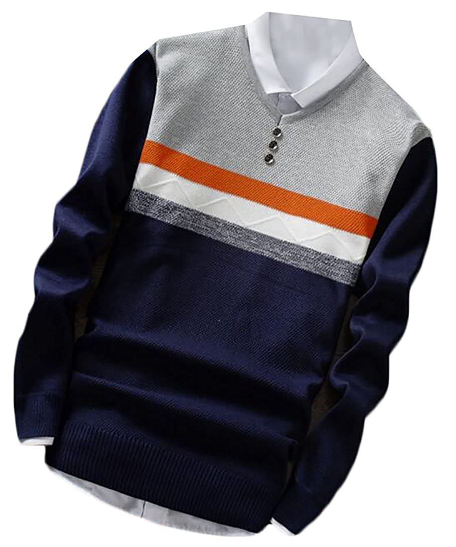 ZXFHZS Mens Classic Winter Warm Long Sleeve Half Button Color Block Pullover Sweater