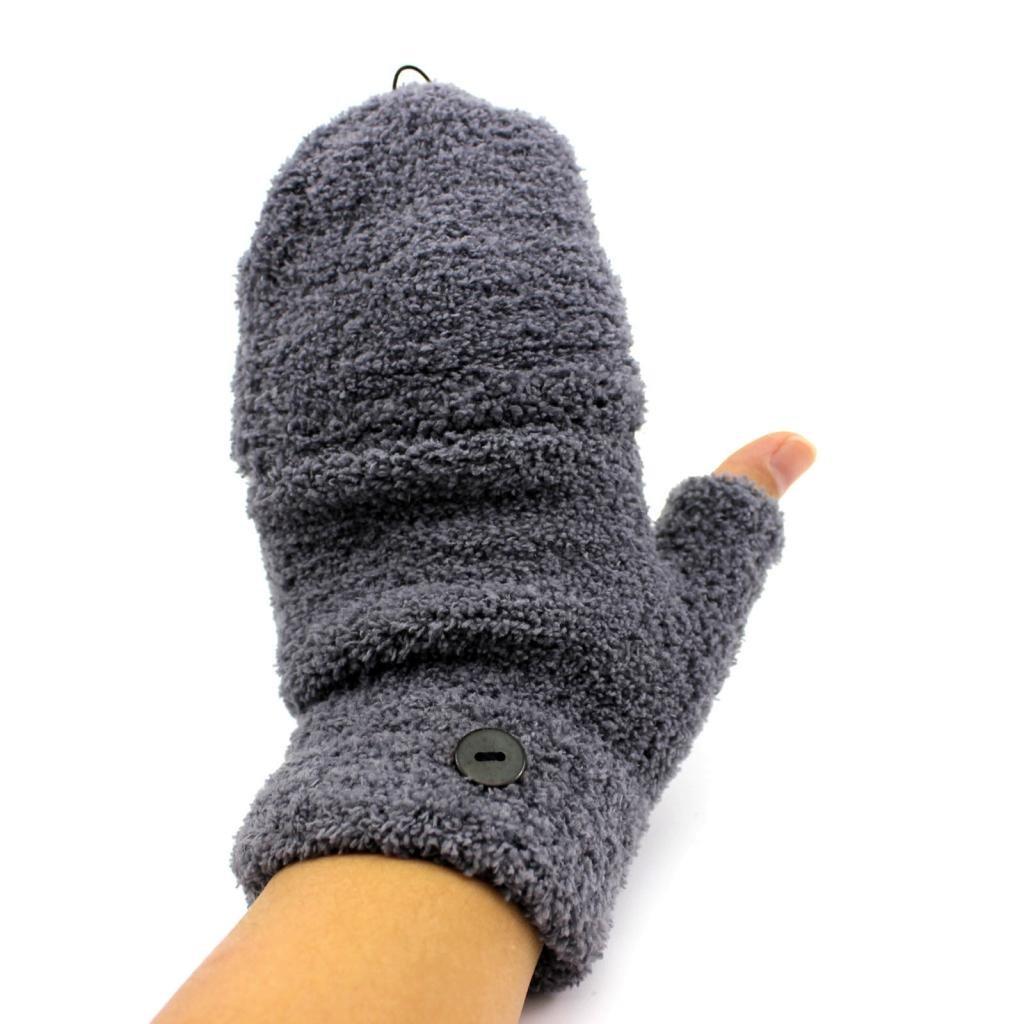 Fashion Unisex Autumn Winter Warm Half Fingers Flip Fingerless Gloves Mittens 1 Pair(Grey) HuaYangca