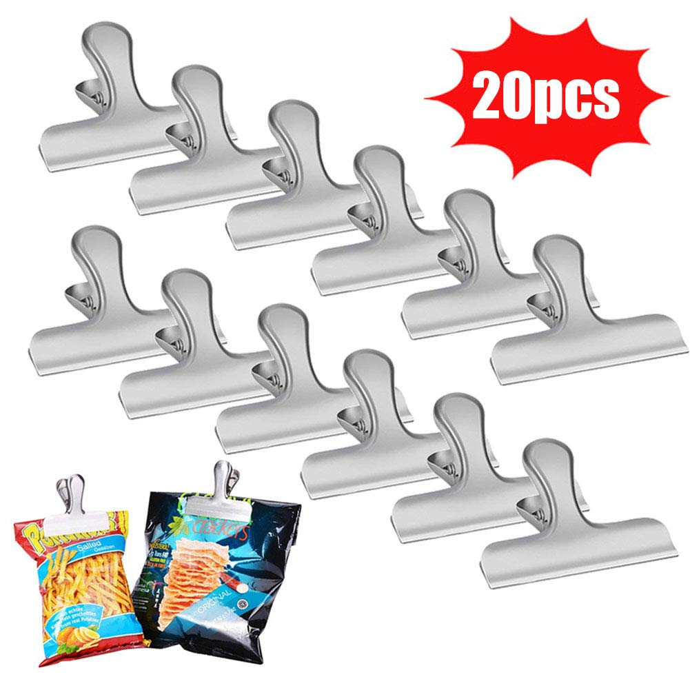 LovesTown Chip Clips,20PCS 3 Inch Stainless Steel Clips Bag Clips Heavy Duty Clips for Air Tight Seal Grip on Coffee Food Bags Office Kitchen Home