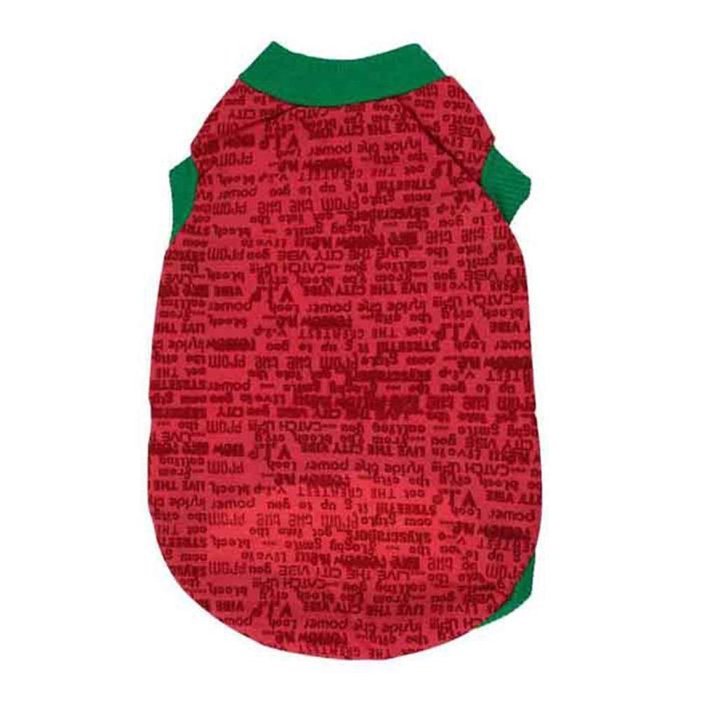 Red XS Red XS Huayue Cotton Total Printed Letter Vest Dog Clothes Spring and Summer Nonchalant Vest (color   Red, Size   XS)