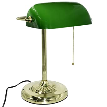 Marvelous RUDY Bankers Desk Lamp 15u0026quot;H, Green Glass Shade With Polished Gold  Finish Straight