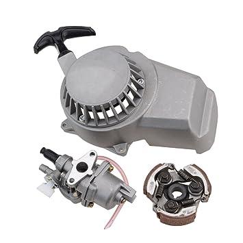 GOOFIT 2 Tiempos 13mm Minimoto Carburador Motor con Cambios Embrague con Arranque y piezas 23cc 33cc