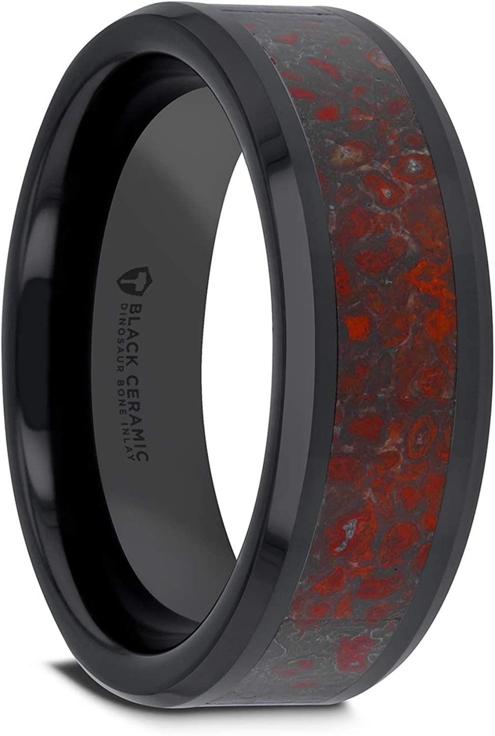 Triassic Black Ceramic Wedding Ring Flat Style with Red Dinosaur Bone Inlay & Polished Beveled Edges - 4mm