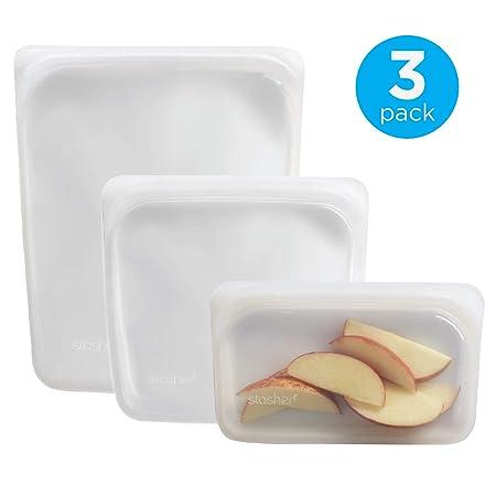 Stasher Reusable Silicone Food Bag, Sandwich Bag, Snack Bag and 1/2 Gallon Bag, Sous vide Bag, Storage Bag, Clear