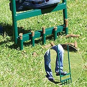 "ALEKO LA01 35.5"" X 11"" Steel Hollow Tine Green Lawn Aerator With 5 Tines"
