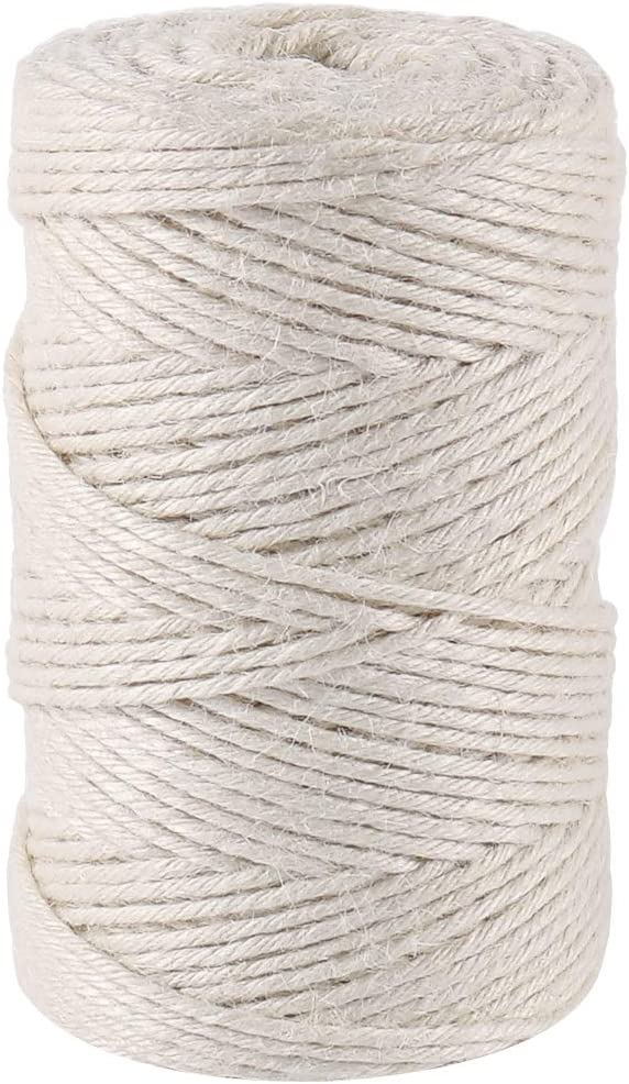 Gift Wrapping 328 Feet Twisted Twine String Packing String for Crafting Creamy 3mm Jute Twine Gardening and DIY Projects