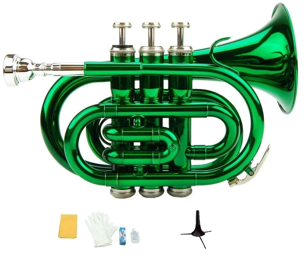 Merano B Flat Green Pocket Trumpet with Case+Mouth Piece;Valve oil;A Pair Of Gloves;Soft Cleaning Cloth+Stand by Merano