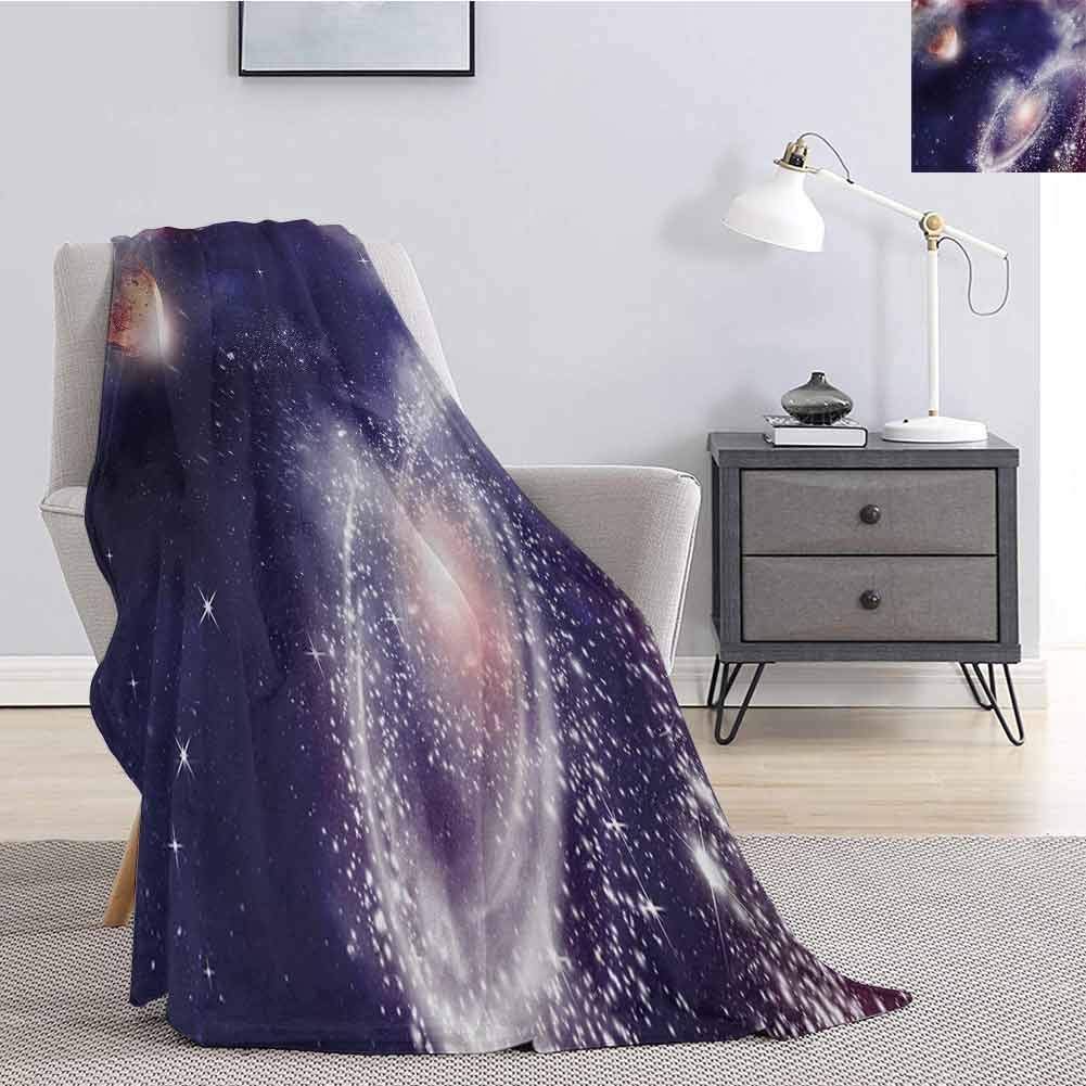 Luoiaax Universe Bedding Flannel Blanket Nebula and Planet Cosmic Galactic Outer Space Night Sky Starry Fantasy Super Soft and Comfortable Luxury Bed Blanket W54 x L72 Inch Navy Blue White Coral