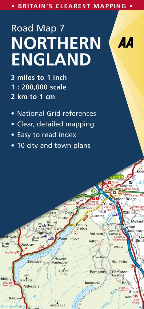 Map Of Northern England.Northern England Road Map Northern England 7 Aa Road Map Britain