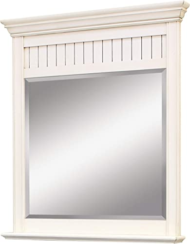 SUNNYWOOD PRODUCTS BB3640MR Bristol Beach Framed Bevel Mirror, Burnished White, 36