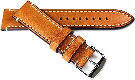 Rios 1931 - Correa de piel de becerro para hombre, 22 mm, diseño vintage, color marrón claro: Amazon.es: Relojes