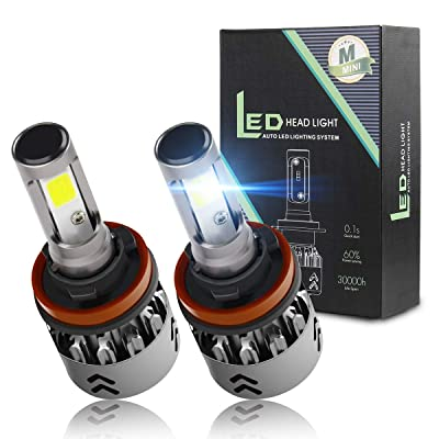 H11 LED Headlight Bulbs Conversion Kit 6000K Cool White Car Headlight Bulb 7600LM Extremely Bright Waterproof for High Beam or Low Beam (H8, H9): Automotive