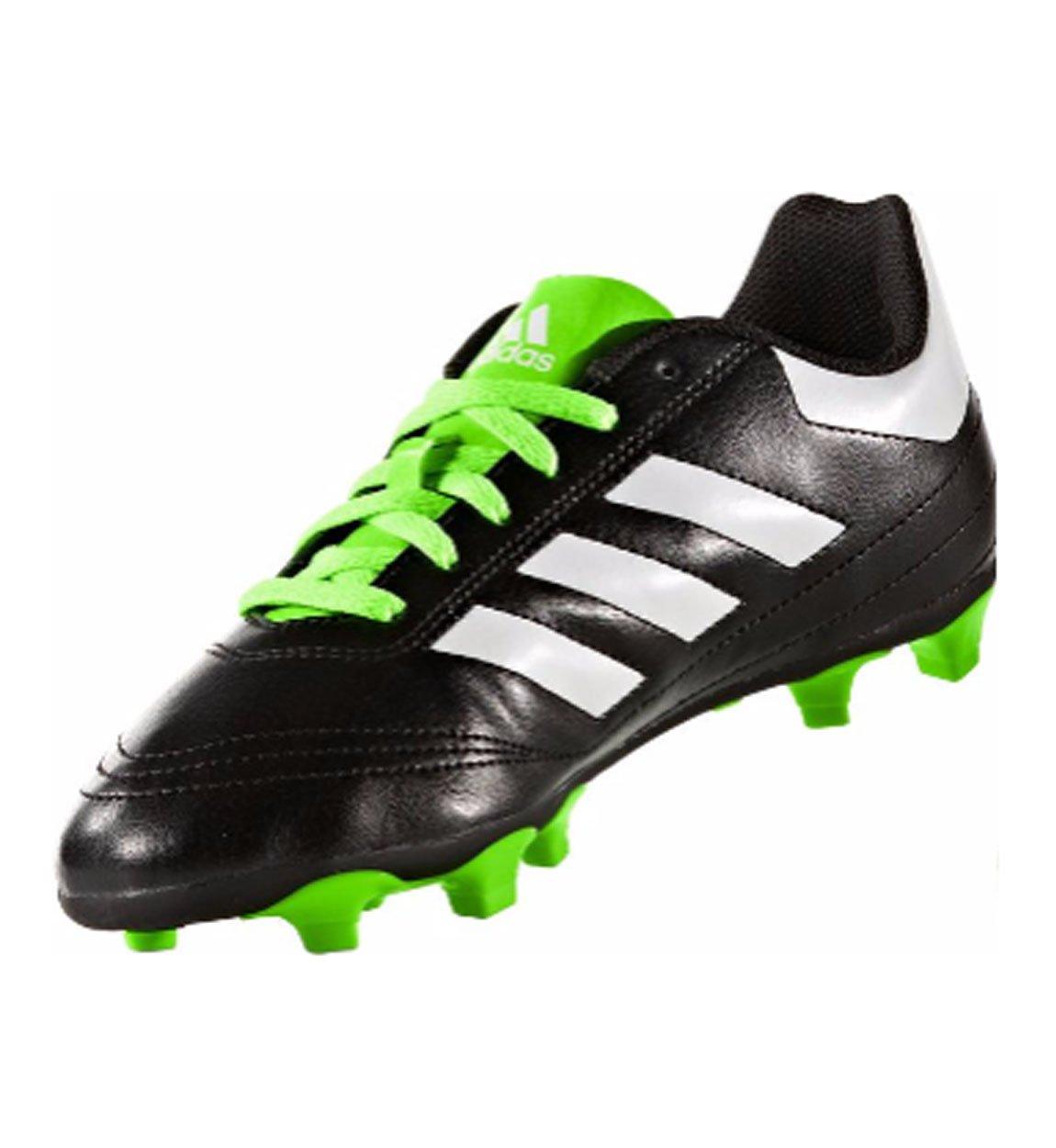 adidas Performance Kids' Goletto VI J Firm Ground Soccer Cleats, Black/White/Sgreen, 12 Medium US Little Kid