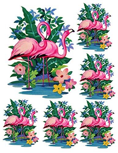 Pink Flamingo Vintage Retro WaterSlide Decals for Furniture , Ceramics, Metal , Glass Etc. (Clear Background)