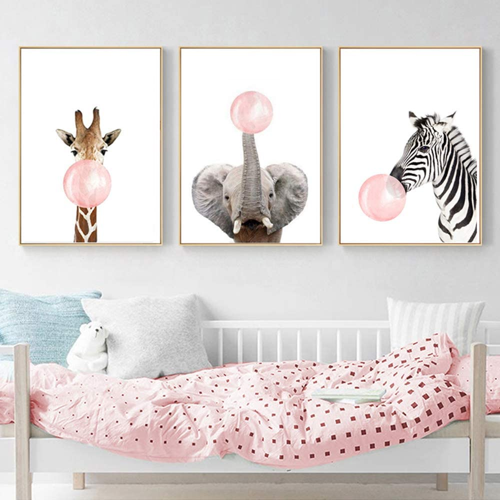 Nordic Ideas 3 Laminas Animales Elefante Jirafa Cebra Chicle Rosa Pósteres Decorativas Pared Infantil Imagen de Niños Decorar Habitaciones de Bebe Regalo Sin Marco PTAN002-XL