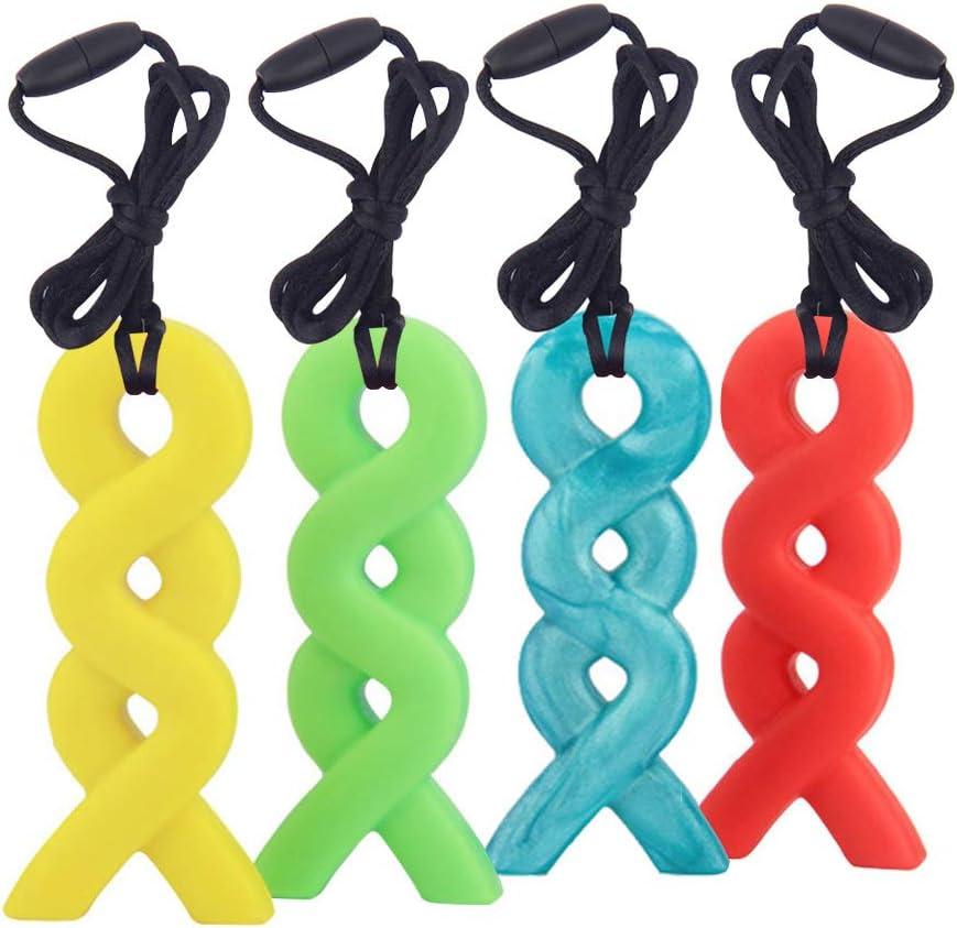 Bleu+Vert+Orange+Jaune, Paquet de 4 Yuccer Silicone Croquer pour B/éb/é Jouets /à M/âcher Sensoriels pour les Enfants Autistes Collier /à M/âcher
