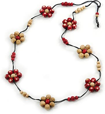 Brazilian Leather Necklace with Pink Resin and Cream