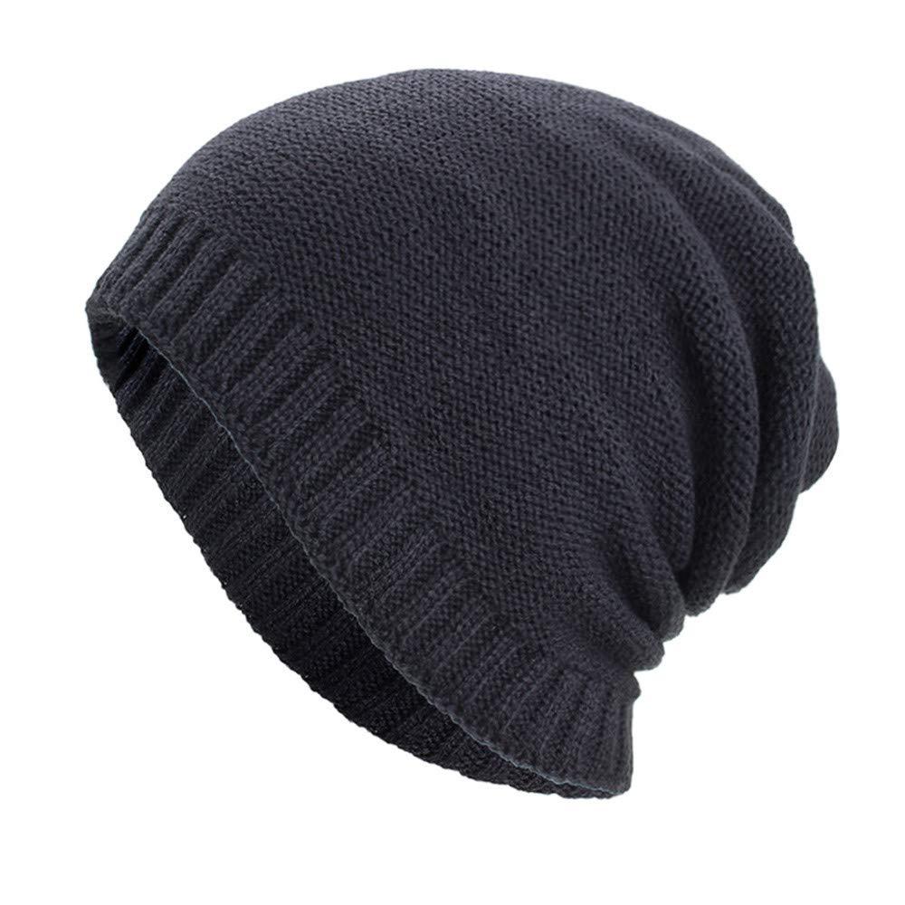 Hats for Women Men, Fashion Warm Baggy Weave Crochet Winter Wool Knit Ski Beanie Hat Skull Caps Navy