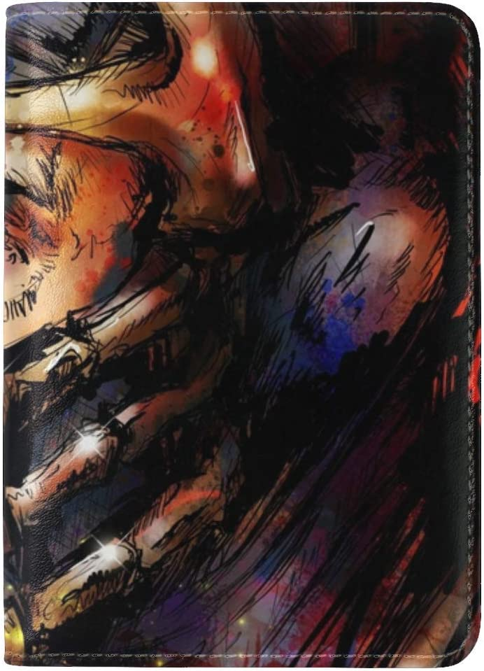 JiaoL Mortal Kombat Scorpion Art Face Mask Leather Passport Holder Cover Case Travel One Pocket