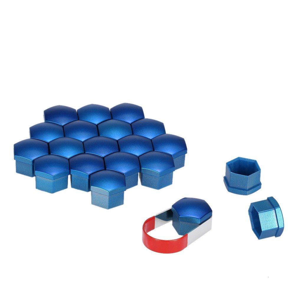 Color:BLAU ZhangHongJ,17mm Universal-Chrom-Kunststoff-Auto-Radmutter deckt Schraubkappen Set aus 20-TLG