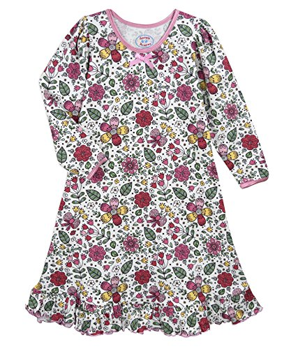 (Sara's Prints Girls' Big Whirl and Twirl Long Sleeve Nightgown, Sweet Floral,)