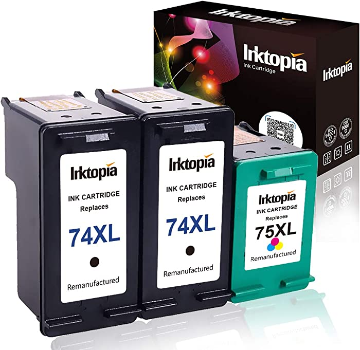 Inktopia Remanufactured Ink Cartridge Replacement for HP 74XL 74 XL CB336WN and HP 75XL 75 XL CB338WN (2 Black and 1 Tri Color) for HP Photosmart Series Printer