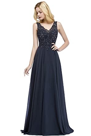 010f283b5ea MisShow Women s Double V-Neck Formal Gowns and Evening Dresses Floor  Length