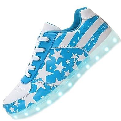 [Present:kleines Handtuch]Weiß EU 42, Farben Blitzen weise Hohe Unisex High 7 Schuhe Licht Farbwechsel LED LED