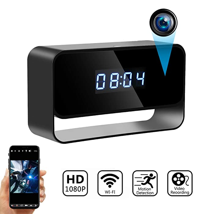 Hidden Camera Clock Wireless Spy Cameras HD 1080P WiFi Secret Covert Nanny Cam Home Office Surveillance Security Motion Detection Enhanced Night Vision Live Streaming via Android iOS App