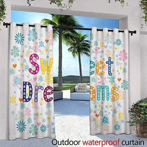 Sweet Dreams Thermal Insulated Blackout Curtains Colorful Letters with Little Flowers on a Blossoming Background Slumber Party Waterproof Patio Door Panel 96