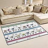 WellLee Area Rug,Colorful Ethnic Llama Animal Alpaca Floor Rug Non-slip Doormat for Living Dining Dorm Room Bedroom Decor 31x20 Inch