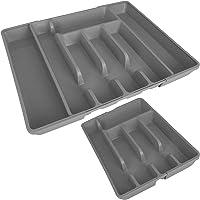 TW24 Alpina Besteckkasten ausziehbar mit Farbwahl 27-44cm für Schubladen Besteckfach Kunststoff Besteckeinsatz Schubladeneinsatz
