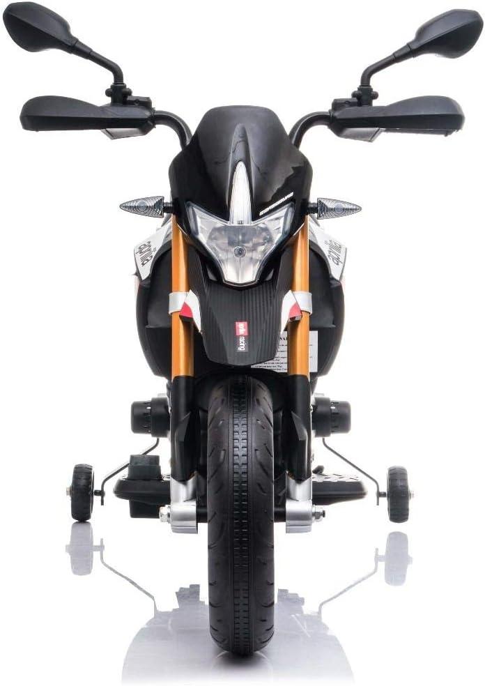 Moteurs 2 x 18W Roues auxiliaires Roues Souples EVA Batterie 12V avec Licence Fourche en m/étal Suspension Noir RIRICAR Moto /électrique Aprilia DORSODURO 900 Cadre en m/étal