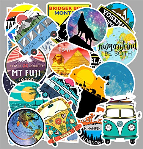 Honch Wilderness Nature Stickers Outdoors Hiking Camping Travel Adventure Stickers Pack 100 Pcs Suitcase Stickers Vinyl Decals for Car Bumper Helmet Luggage Laptop Water Bottle