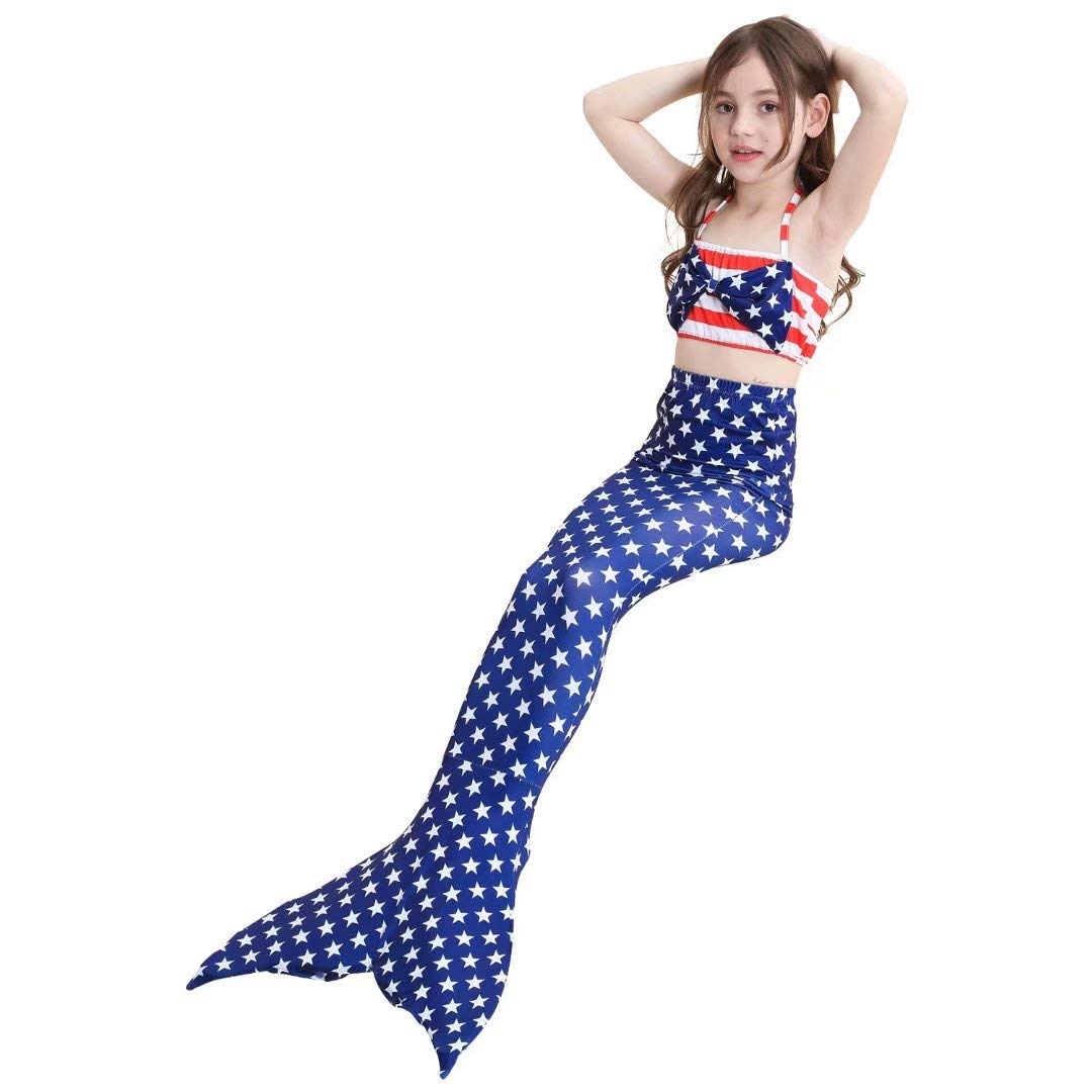 Tsyllyp 2019 Girls American Flag Swimsuit Mermaid Tails for Swimming Bikini Bathing Suit with Monofin 4PCS