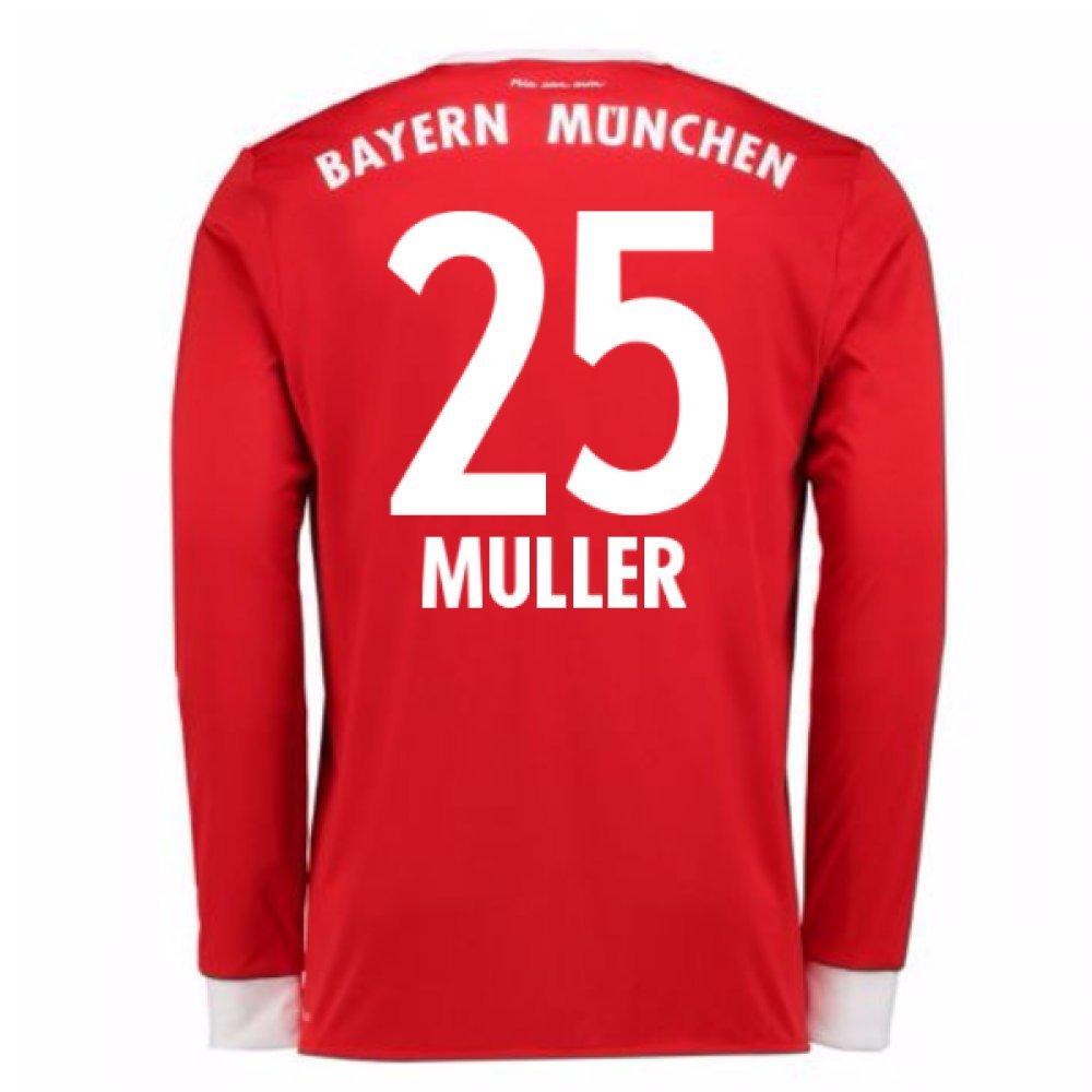 2017-18 Bayern Munich Home Long Sleeve Shirt (Kids) (Muller 25) B077PKC3SS Medium Boys 28-30