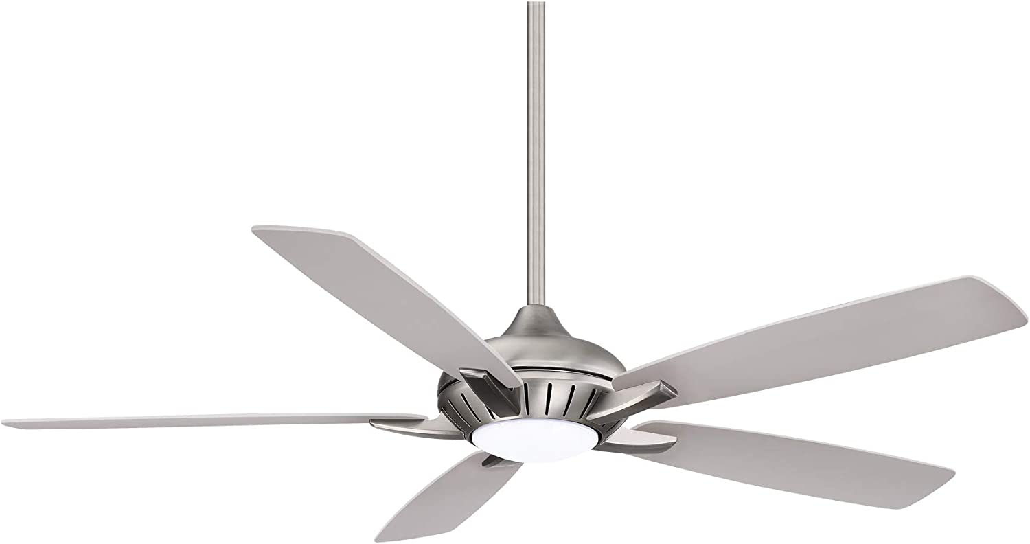 Minka Aire F1001-BN/SL Dyno Xl - 60 Inch Smart Celing Fan With Light kit, Brushed Nickel Finish With Reversible Silver and Aged Wood Blade Finish