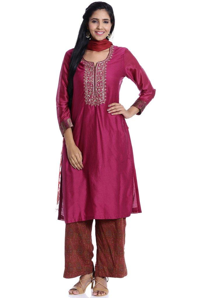 BIBA Women's Straight Cotton Silk Suit Set 38 Purple