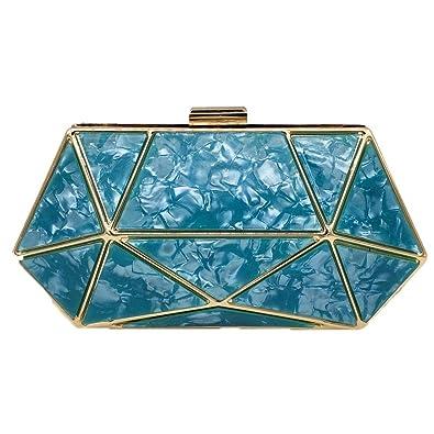 Womens Evening Clutch Bag,Ladies Wedding Party Geometric Mosaic Acrylic Box Small Square Bag Shoulder Bag