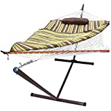 Sunnydaze Cotton Rope Hammock and Durable 12 Foot Stand Set w/Quilted Pad and Pillow, Desert Stripe