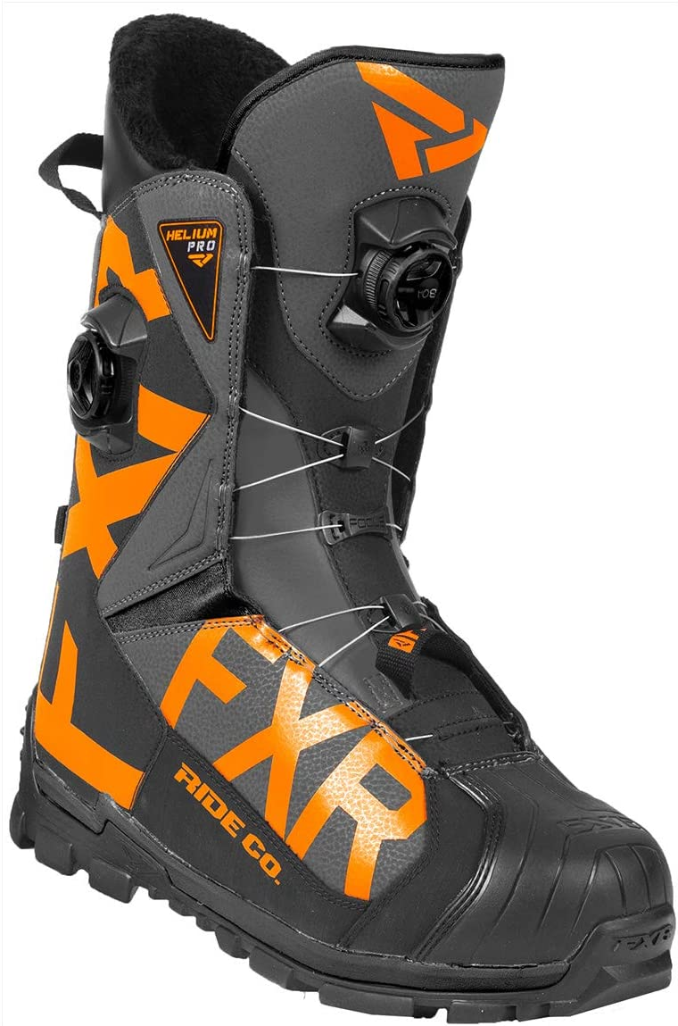 2019 FXR HELIUM PRO BOA BOOT SNOWMOBILE BLACK CHARCOAL ORANGE