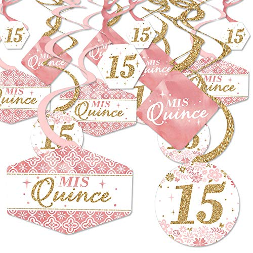 Mis Quince Anos - Quinceanera Sweet 15 Birthday Party Hanging Decor - Party Decoration Swirls - Set of 40]()