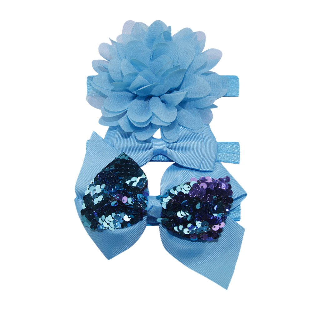 3Pcs Newborn Baby Sequins Floral Headband Headwear Elastic Band Hair Accessories Baby Girls Dress up Head Band Bowknot Soft Hairband Turban Head Wraps Sets