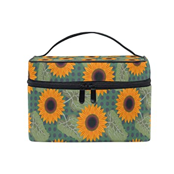 72fe74ed606f Amazon.com : Cosmetic Bag Graphic Sunflower PictureTravel Makeup ...