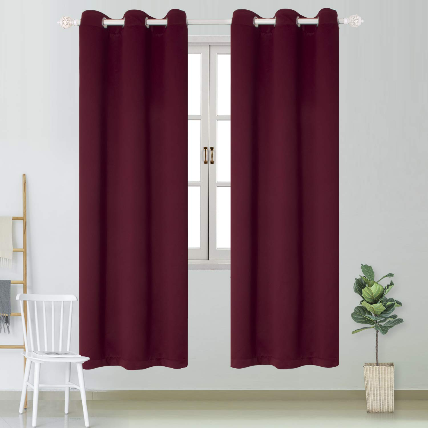 BGment Blackout Curtains Room Darkening Thermal Insulated Window Drapes for Living Room, Bedroom, Kids Room, with Metal Grommets Top, 2 Panels - Beige, 42 Wx63 L 42 Wx63 L