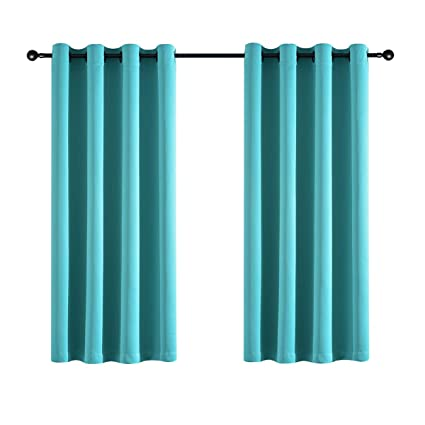 Kotile Room Darkening Curtains Energy Smart Solid Grommet Sky Blue Blackout Curtain 2 Panels For