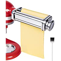 Sturdy Pasta Roller Attachment for KitchenAid Stand Mixer with Cleaning Brush, Food Grade Stainless Steel