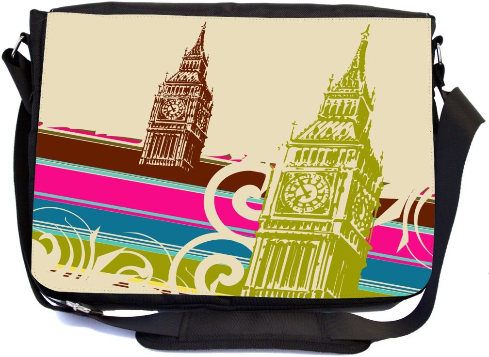Rikki Knight Fine Art Big Ben Retro Design Multifunctional Messenger Bag - School Bag - Laptop Bag - with Padded Insert for School or Work - Includes Matching Compact Mirror by Rikki Knight (Image #1)