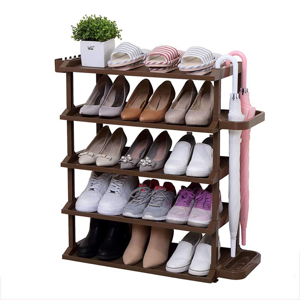 5 Tiers Schuhablage Brauner Schuhregal Zuverlässiger Kunststoff Für 15 Paar Schuhe 63x32x76CM