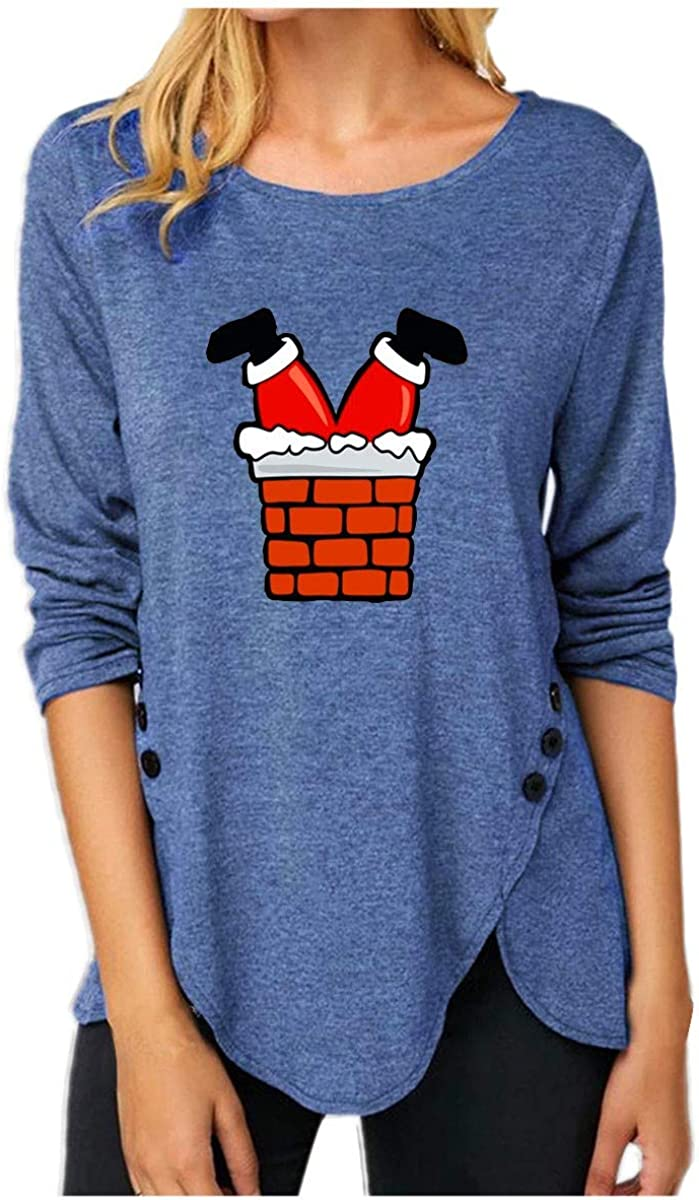 Women Christmas Top QUINTRA Xmas Merry Christmas Pullover Sweatshirts Crewneck Long Sleeve T Shirts Side Button Irregular Jumpers Blouse A Blue